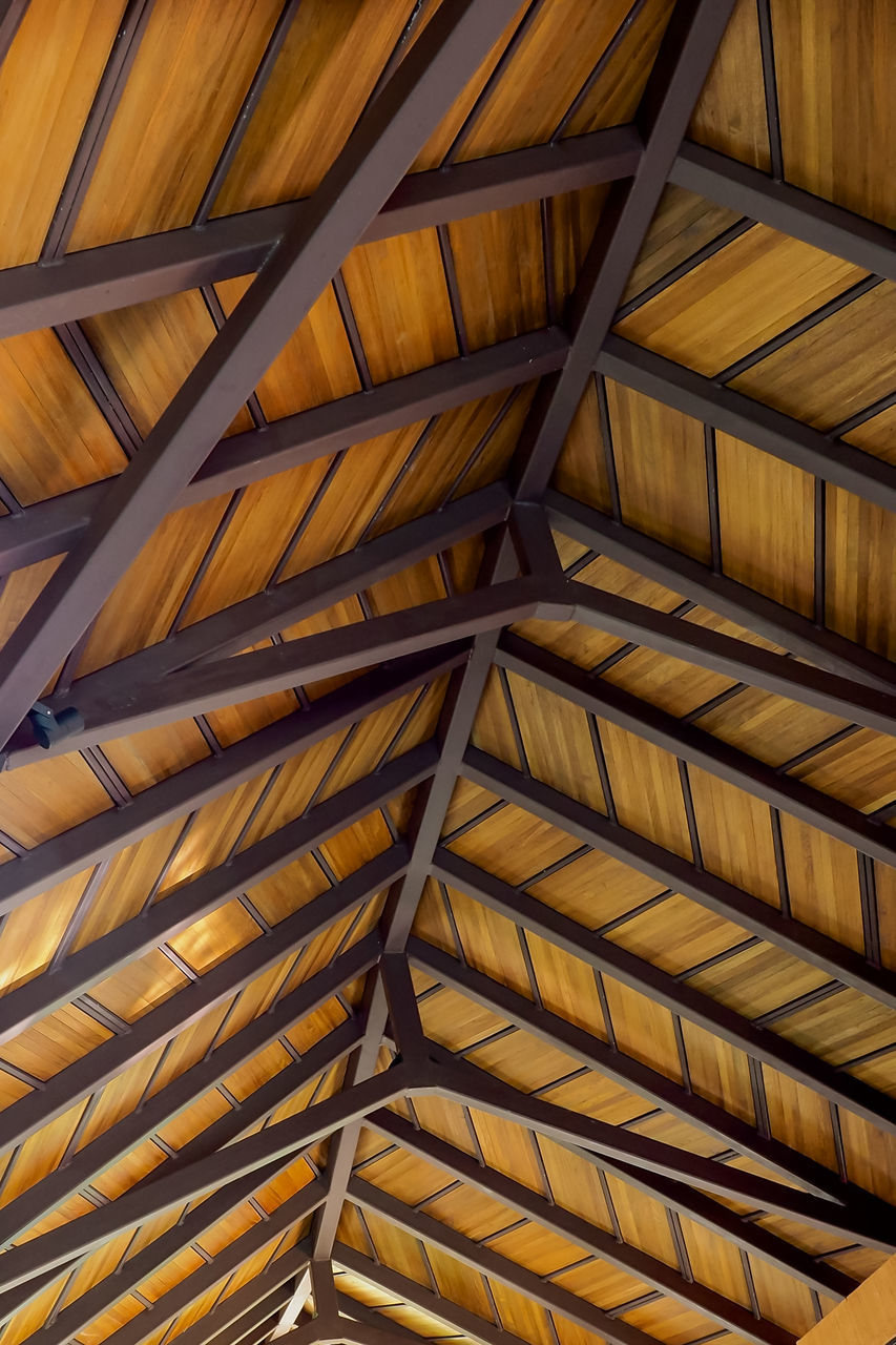 full frame, low angle view, backgrounds, roof beam, pattern, ceiling, indoors, no people, protection, architectural design, built structure, architecture, close-up, day