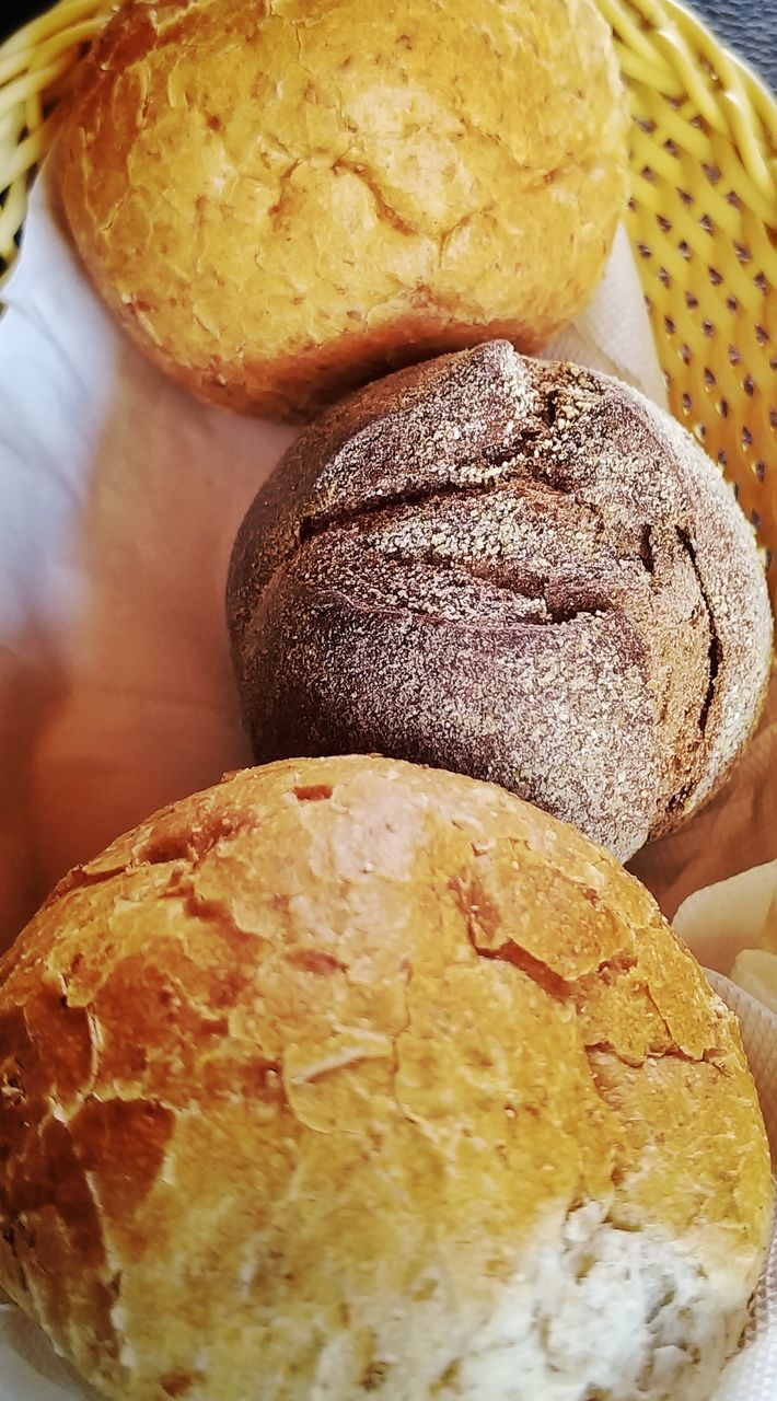 food, food and drink, bread, freshness, still life, baked, close-up, indoors, ready-to-eat, no people, indulgence, sweet food, bun, brown, table, focus on foreground, basket, healthy eating, wellbeing, high angle view, temptation, snack, muffin