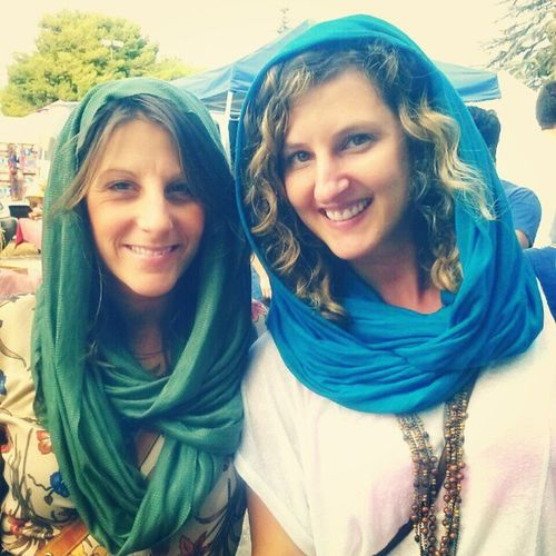 Two happy customers...Rocking the Moroccan look with my handmade Infinity scarf...multi purpose....shop@ The Melrose & Fairfax Market..here every Sunday...come stop ny...shop till u drop... ,Melrosetradingpost ,InfinityScarf , Moroccanlook