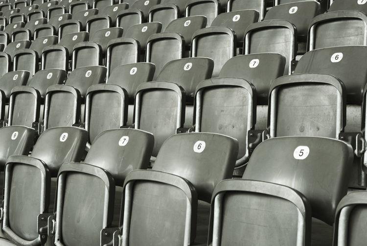 Full frame shot of bleachers at stadium