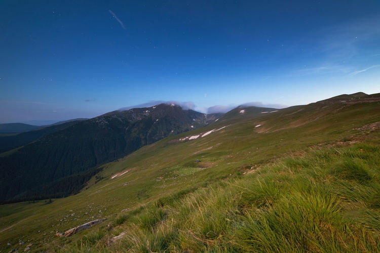 Sunrise landscape in the Carpathians Mountain Nature Outdoors Sunrise Carpathians Parang Landscape Valley Light Green Summer Romania