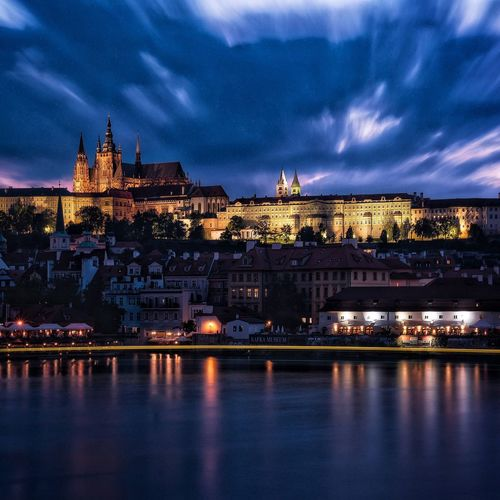 The Journey Is The Destination Finally in Prague and probably enjoying one of the most beautiful views you can get. Prague Travel Long Exposure Ndfilter Castle Charles Bridge Czech Republic Check This Out Sunset Nighttime Lights A Bird's Eye View
