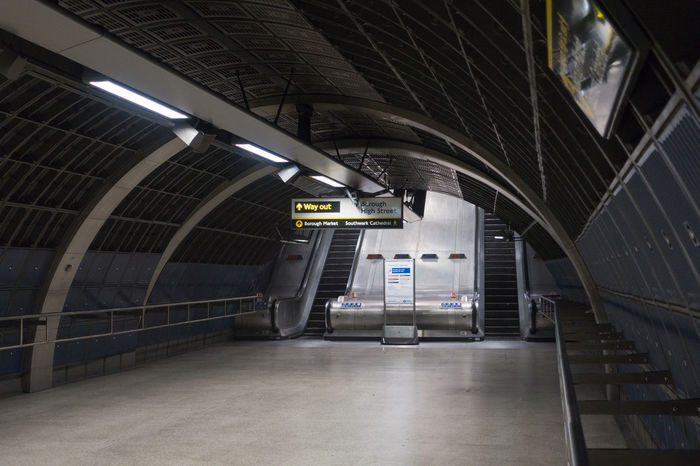The Descendant Architecture Descendant London Bridge London Bridge Station Underground Underground Station  Arch Architecture Ceiling Communication Direction Illuminated Indoors  No People Public Transportation Railing Sign Transportation Underground Walkway