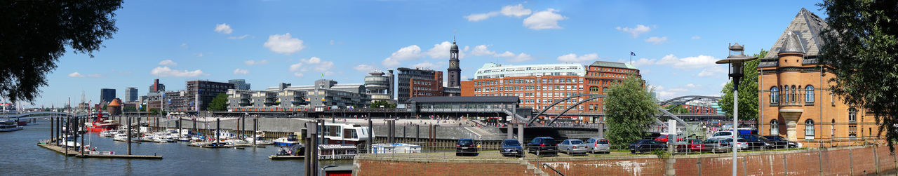 Hamburg Germany Elbpromenade Baumwall Harbor Port Panoramic View Panorama Skyline Cityscape City Sporthafen German Travel Summer Attraction Sightseeing Kehrwiederspitze Michel Landmark Elbe River Harbour Marina Ship Boat Yacht Architecture Building Train Station Sunny Day Editorial  City Life City-sporthafen Landunsgbrücken