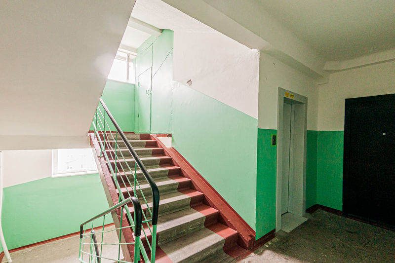 Empty staircase of building