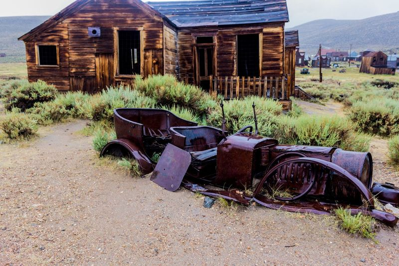 Heritage Bodie Ghost Town California USAtrip USA Wrack Built Structure Architecture Building Exterior Abandoned Transportation Land Mode Of Transportation Building Damaged Old No People Grass House Obsolete