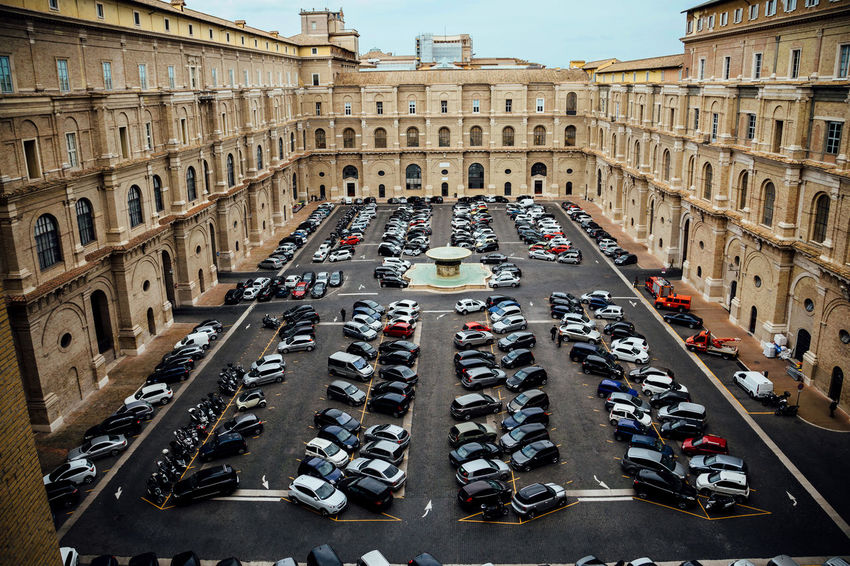 Cars City Life Fountain Moving Around Rome Rome Travel Vatican Architecture Building Exterior Built Structure Car City High Angle View History Parking Travel Destinations Urban Vatican Museum