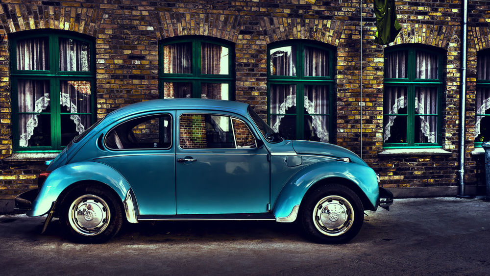 Bluecar Car City Fineart HDR Old-fashioned Retro Styled Transportation Vintage VW Beetle