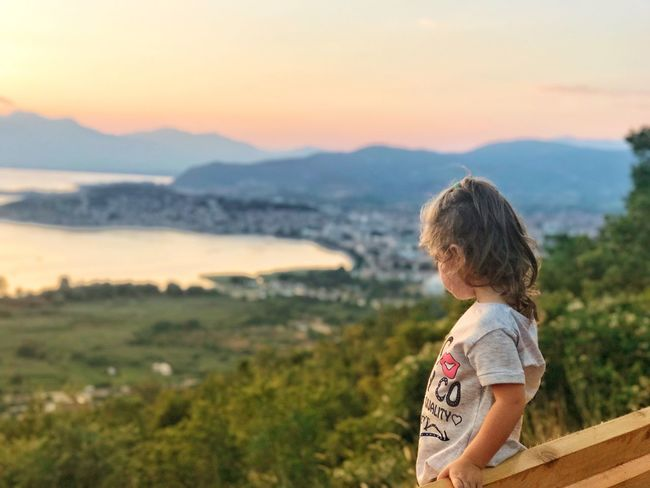 Ohrid Lake Childhood One Person Standing Nature Landscape Sunset Mountain Beauty In Nature Real People Outdoors Scenics Day Blond Hair Sky People