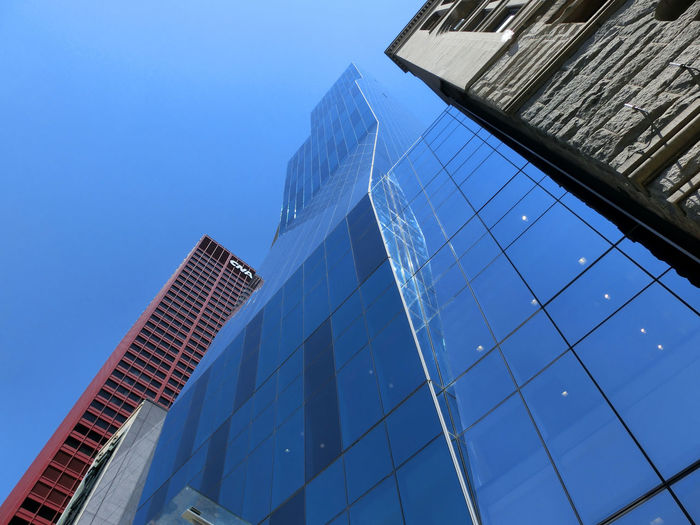 Architecture Blue Building Exterior Built Structure City Clear Sky Day Development Growth Low Angle View Modern No People Office Park Outdoors Sky Skyscraper Tall