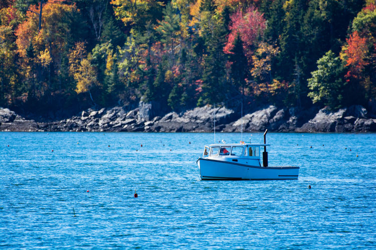 Lobster fishing boat in autumn against deep blue ocean water in coastal Maine, New England Autumn Autumn colors Autumn Leaves Boothbay Harbor Maine Coastline Lobster Maine New England  South Bristol Boat Boats Boothbay Coast Coastal Lobster Boat Marine Ocean