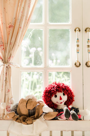 Window Toy Indoors  Stuffed Toy Teddy Bear Representation No People Plant Human Representation Home Interior Red Day Curtain Transparent Nature Art And Craft Window Sill Glass - Material