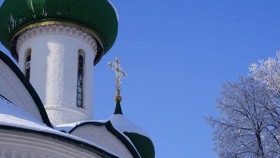 Golden cross Winter Orthodoxy Sky Nature Clear Sky Blue Low Angle View Day No People Religion Cold Temperature