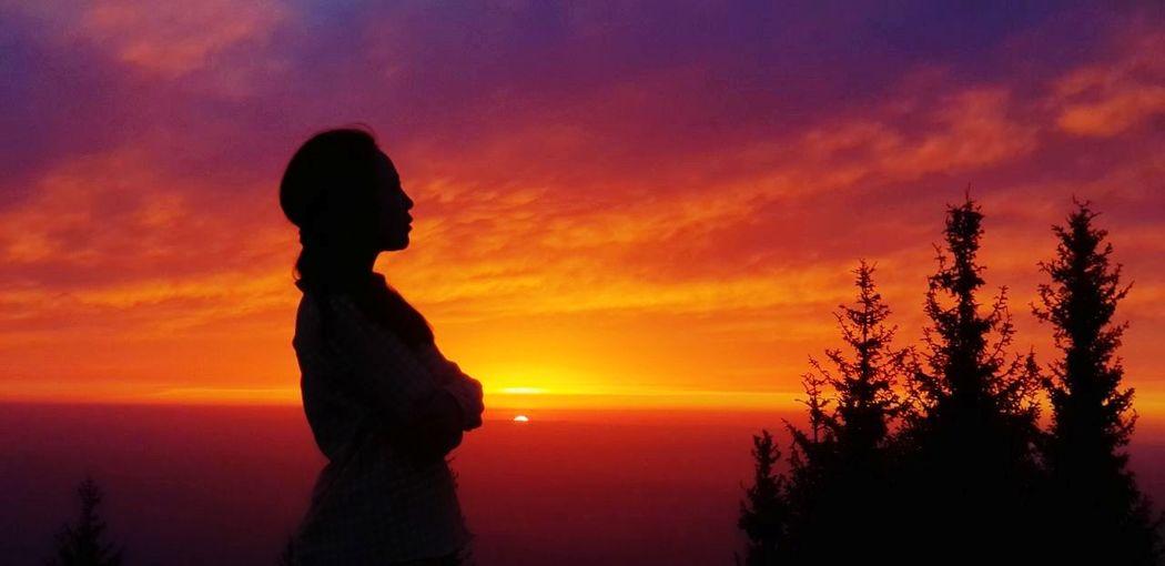 Sunset Almatymountains Kazakhstan Almaty Sunset Tree Sunset Child Silhouette Beauty Women Sky Cloud - Sky