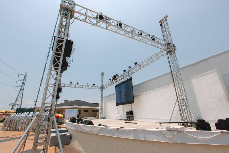 Incomplete stage against clear sky