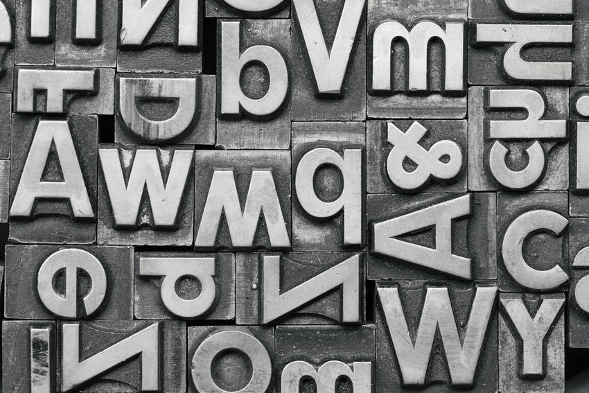 Old Lead Letters Press Print Printing Typography Design Alphabet Backgrounds Close Up Communication
