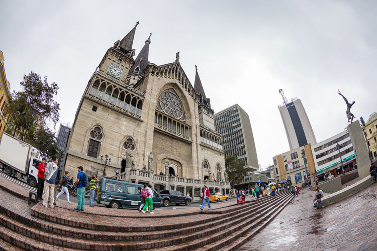 MANIZALES, COLOMBIA - MAY 31: The Cathedral Basilica of our Lady of the Rosary after the rain in Manizales, Colombia on May 31, 2016. America Coast To Coast Architecture Cathedral Church Colombia Gothic Latin Manizales Neo-Gothic South Africa Tourist Andean Attraction Cathedral Basilica Of Our Lady Of The Rosary City Coffee Triangle Colombian  Destination Lady Of The Rosary Outdoors Religion Spirituality Style Tourism Travel