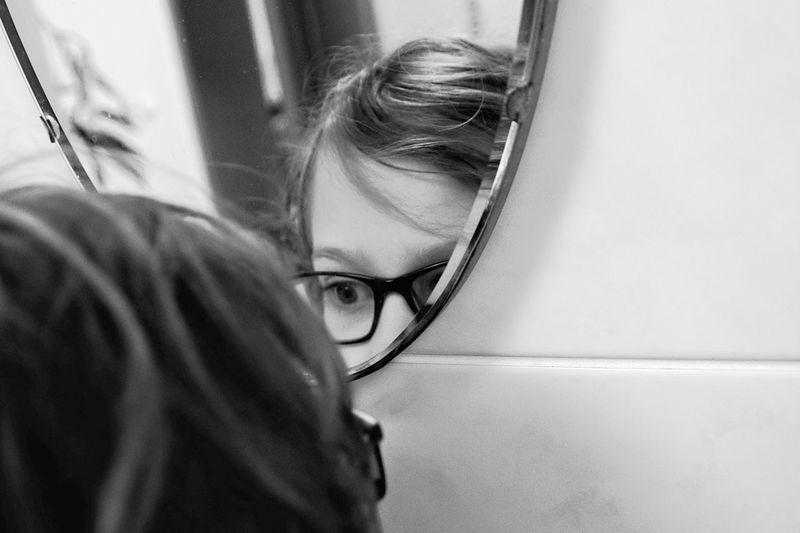 Boy Looking At The Mirror Eyeglasses  Mirror Black And White Close-up Eyeball Iris - Eye Human Eye Eye Low Section