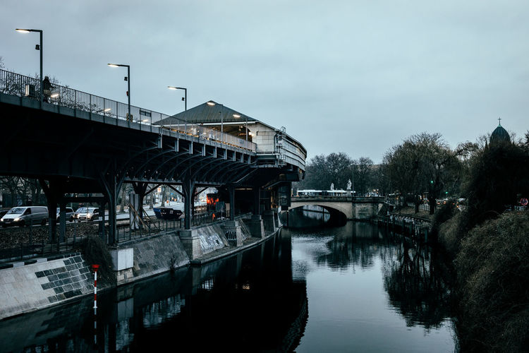 Hallesches Tor station Architecture Berlin Photography Berliner Ansichten Boathouse Bridge - Man Made Structure Built Structure Capture Berlin Cloud - Sky Connection Day Mode Of Transport Nature Nautical Vessel No People Outdoors Public Transportation Reflection River Sky Station Transportation Tree Water