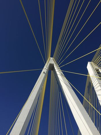 EyeEmNewHere Suspension Bridge Cable Built Structure Architecture Blue Low Angle View Connection EyeEm Selects