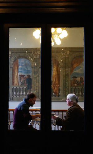 Architecture Behind Glass Having Tea Illuminated Indoors  London People Real People Rectangles Togetherness Two Two People V&A Museum Window