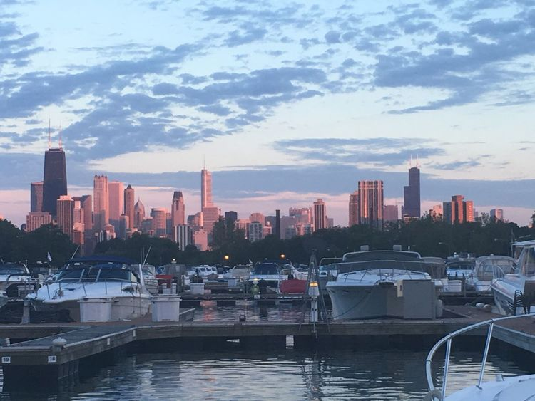 The Chicago skyline taken from Diversey Harbor Pink Chicago Chicago Skyline ChiTown Boat Boatlife Citylife Chicago Skyline EyeEm Selects Skyscraper Architecture City Cityscape Building Exterior Urban Skyline Waterfront Built Structure Water Travel Destinations Modern Tower Day