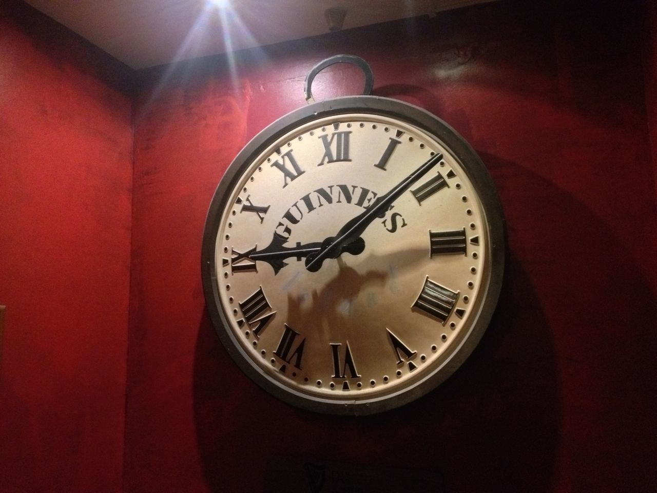 time, clock, indoors, no people, red, illuminated, clock face, minute hand, roman numeral, close-up, day