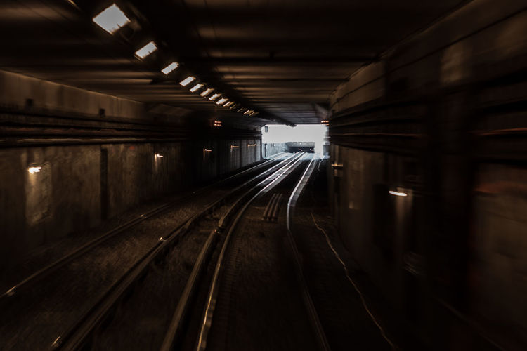 Soon out of the tunnel of the metro in paris