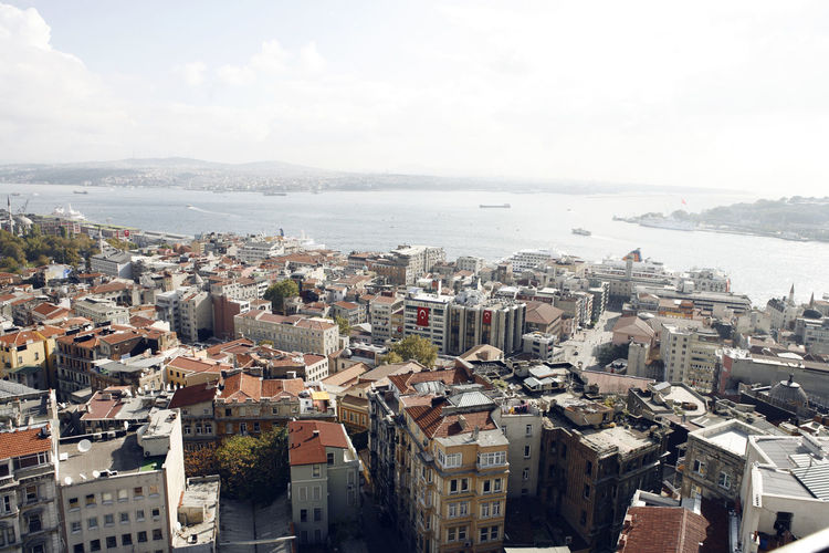 Aerial view of residential district and bosphorus