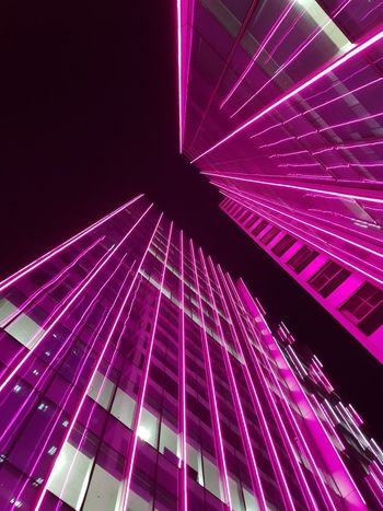 Light Lights Taguig Philippines Illuminated City Pink Color Sky Architecture Light Trail Long Exposure High Street