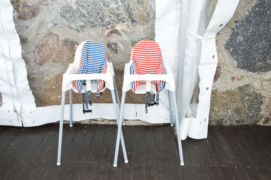 Two toddler high chairs for a girl and a boy Babby Blue Chair Child Cultures Day Design Dining Feeding  Garden Party, Gazebo Guest High Home Decor Interior Lifesyle No People Outdoors Pink Rustic Striped Stripes Pattern Toddler  Vintage White Millennial Pink The Still Life Photographer - 2018 EyeEm Awards