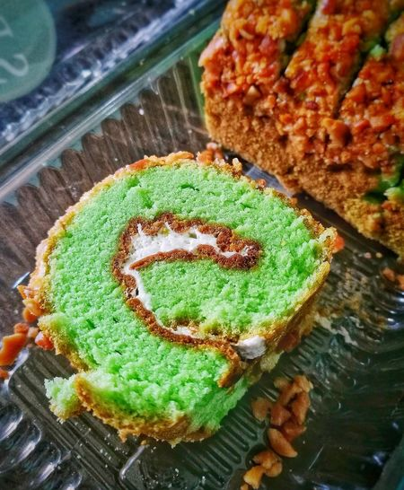 Roll Cake Pandan Peanut Cream Morning Malaysia ASIA Container High Angle View Close-up Green Color