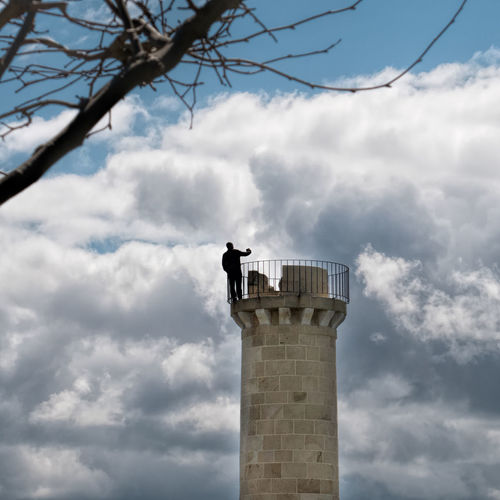 Selfie at the top Architecture Building Exterior Built Structure Cloud - Sky History Low Angle View Nature No People Outdoors Silhouette Tall - High Tower Clouds And Sky Showcase April From My Point Of View Perspective Human Meets Technology Feel The Journey Vizcaya