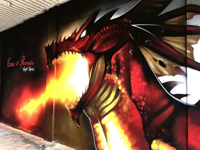 Flame Red Dragon Y Ddraig Goch Red Dragon Welsh Dragon Street Art Streetart Street Art Cardiff Wales Heat - Temperature Burning Close-up No People Illuminated Croesoirffurnais Welcome To The Furnace Cardiff StreetArtEverywhere Street Art/Graffiti