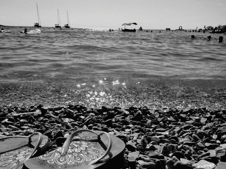 Mandala Flip Flops Sea And Sky Boats Enjoying The View Enjoying The Sun Enjoying The Moment Black And White Photography Refreshing :) Croatia ♡ Primošten Sunny Day Stones & Water