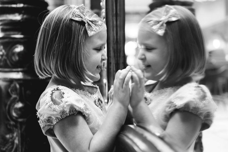 Girls Togetherness Twins Mirror Reflection Child Dress Dressing Up Princess Mirrored Sweet Cute Pretty Little Girl Instagood Instadaily Relaxing Vacation Photooftheday EyeEm Best Shots Blackandwhite Photography Black And White The Portraitist - 2017 EyeEm Awards Relaxation Relaxing Moments Live For The Story Mix Yourself A Good Time
