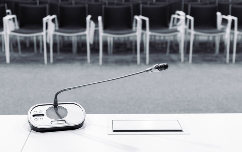 Microphone on table in conference room