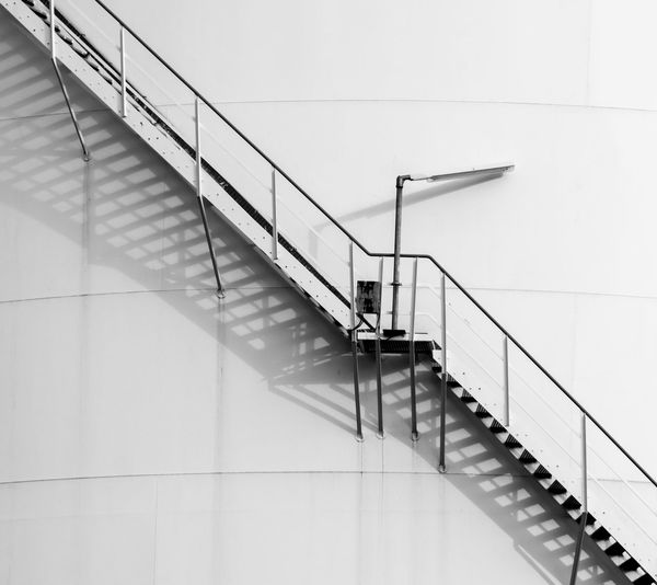 Architecture Black And White Lamp Light And Shadow Stairs Industry Stairway Day Tank Minimalism Diagonal Outdoors Black & White Staircase Industrial Steps Railing Minimalistic No People Hand Rail Stairs_collection Best Of Stairways Steps And Staircases Built Structure The Graphic City Krull&Krull Architecture