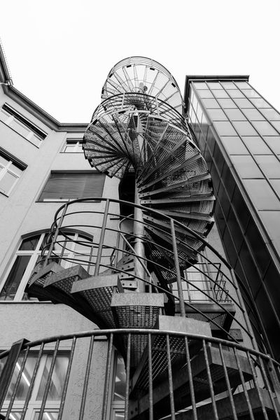 Architecture Architecture Berlin Blackandwhite Building Exterior Built Structure Circular Stairway City Life Day Daytime Kreuzberg Low Angle View Monochrome No People Outdoors Schwarzweiß Staircase