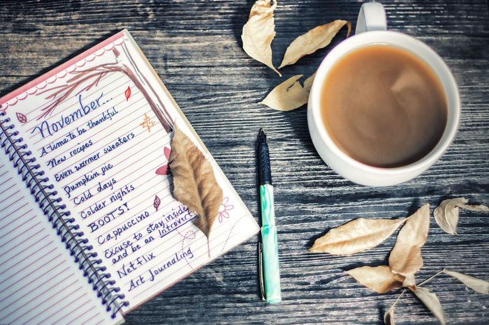 November List;) Art Autumn Coffee Cozy Drink Fall Food And Drink Indoors  Journal Leaves No People November Pen Table To Do List Writing Yellow
