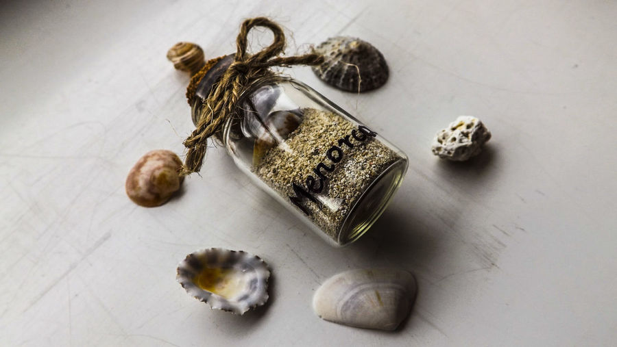 Bottle Close-up Cork Craft DIY Gift Glass Handmade High Angle View Jar Knot Mason Jar Memory Menorca Mini Glass No People Personal Phial Present Sand Sea Shells Souvenir Travel Vial