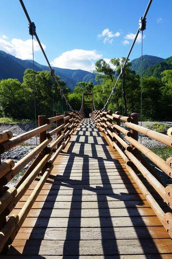 2018 Japan Bridge Day Land Mountain Mountain Range Nagano Nature Outdoors Rope Shadow Sky Sunlight Transportation Tree 上高地 橋 長野県