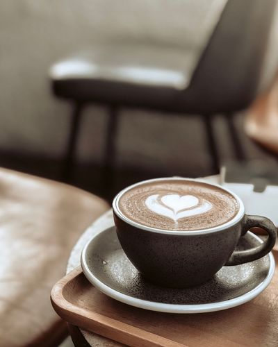 coffee Drink Coffee Cup Food And Drink Mug Coffee - Drink Coffee Cup Froth Art Cappuccino Freshness Saucer Focus On Foreground Close-up Table Crockery Indoors  Frothy Drink Hot Drink Still Life Refreshment