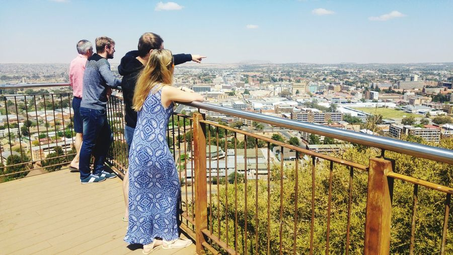 @Naval Hill South Africa Freestate South Africa Peace And Quiet City Young Women Cityscape Full Length Togetherness Women Happiness Men Smiling Bonding Urban Skyline Observation Point Financial District