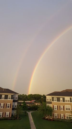 Double Rainbow Beauty In Nature Double Rainbows Multi Colored Rainbow Sky Tranquil Scene Westbury, NY