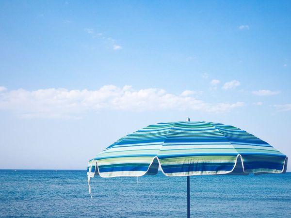 Beach Sky Umbrella Horizon Over Water
