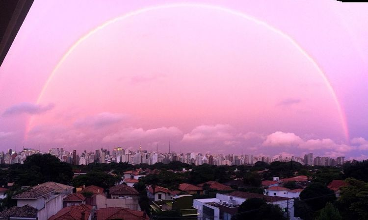 My Year My View {Somewhere over the rainbow...} Rainbow City Skyline Cityscape City Skyline Over The Rainbow Architecture Sky Pink Sky Pink Sunset Clouds And Sky Cityscape Taking Photos Sao Paulo - Brazil Great View Adapted To The City