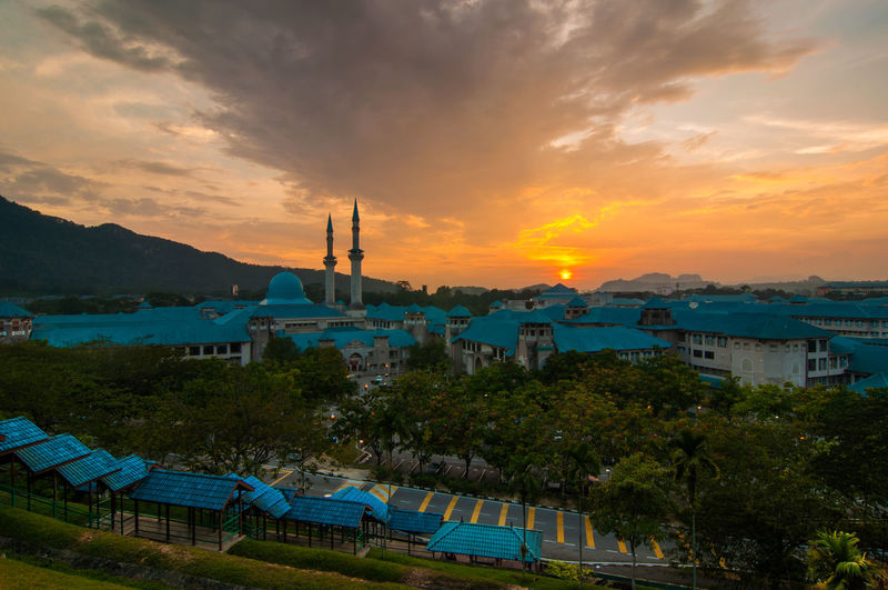 IIUM Gombak during sunset Architecture Beauty In Nature Built Structure Cloud Cloud - Sky Idyllic IIUM IIUM Gombak Malaysia Mountain Nature No People Orange Color Outdoors Scenics Sky Sun Sunset Tourism Tranquil Scene Tranquility Travel Destinations Water