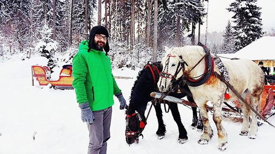 Winter Trip Travel Discover  Explore Snow Frost Mountain Trees Clouds Cloudporn Beautiful Nature World View Landscape Sudety Gory Horse Animal ❄ ☁ Man Husband 😚