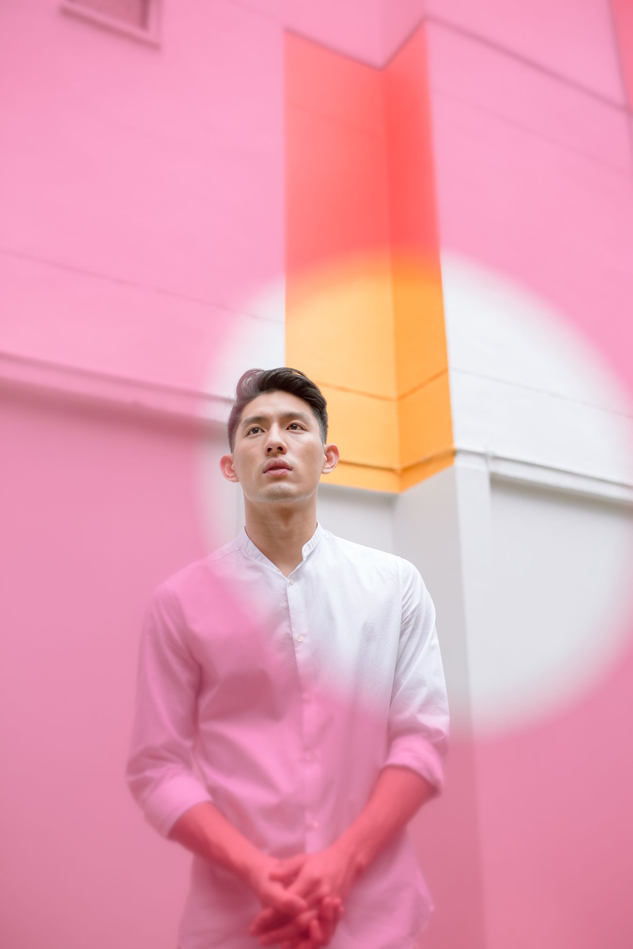 standing, one person, pink color, front view, waist up